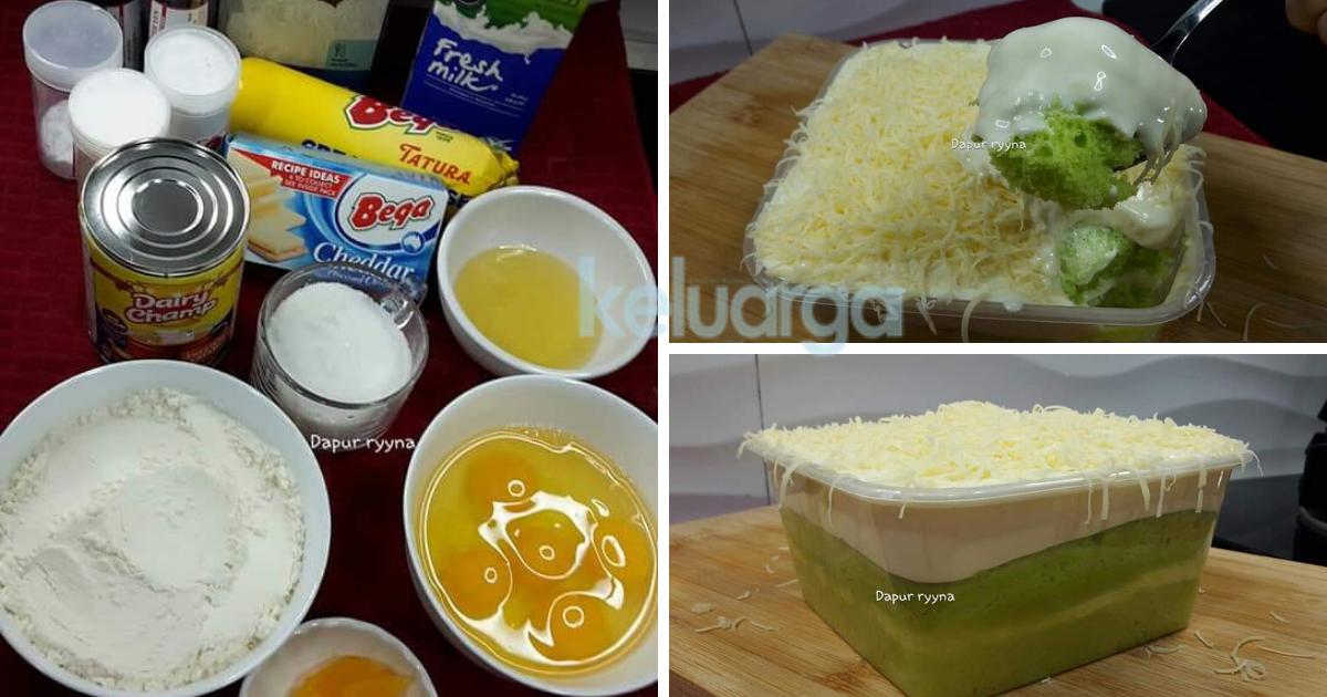 Resipi Kek Pandan Cheese Leleh Versi Kukus Ikut Sukatan