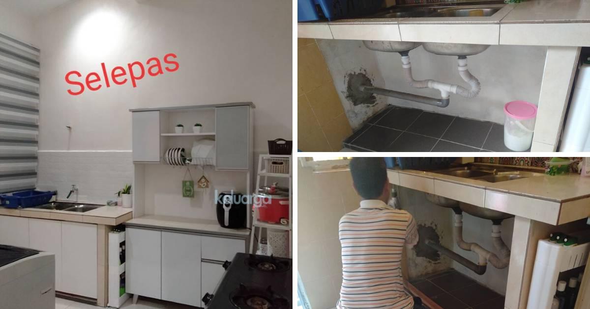 Projek Deko Dapur Hujung Minggu Lelaki Ni Diy Pintu Kabinet Guna Wallpaper Untuk Nampak Baru Jimat Kos Keluarga