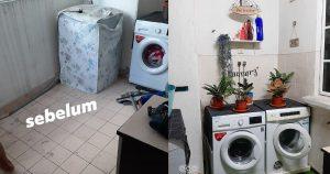 idea dekorasi ruang laundry kuarters polis, sempit pun